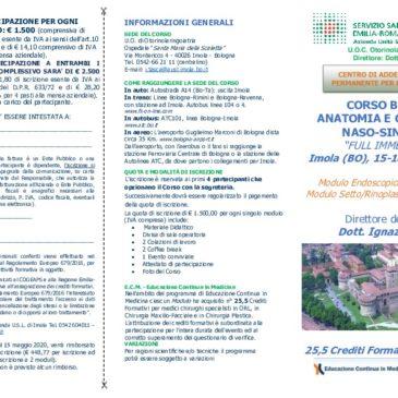 """CORSO BASE di ANATOMIA E CHIRURGIA NASO-SINUSALE """"FULL IMMERSION"""" Imola (BO), 15-18 giugno 2020"""